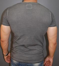K&D Men Sticthy Dyed V-Neck T-shirt - Gray