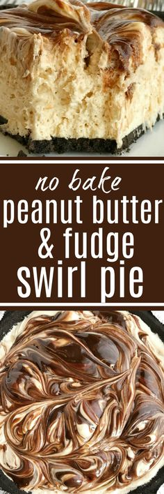 No-bake peanut butter fudge swirl pie if loaded with peanut butter, fudge, and cream cheese inside an easy Oreo cookie crust. So easy to make and the best no bake dessert you will ever eat. If you love peanut butter & chocolate then this pie will become a favorite   www.togetherasfamily.com
