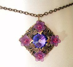 Rhinestone filigree pendant necklace  purple. by ArtfulTrinkets1, $40.00