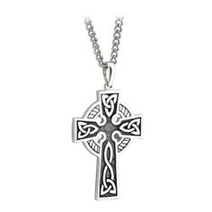 Silver Double-Sided Celtic Cross Pendant