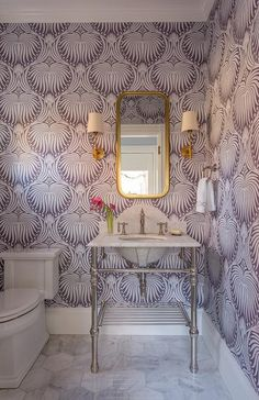 purple-farrow-and-ball-lotus-wallpaper-marble-washstand