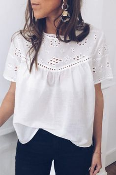 Casual Round Neck Short Sleeve See-Through Hollow Out Pure Colour T-Sh work,blouses for women fashio Cute Blouses, Shirt Blouses, Blouses For Women, Spring Fashion Casual, Look Fashion, Fashion Outfits, Ladies Fashion, Fashion Blouses, Cheap Fashion