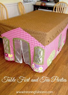 Table Cloth Fort Tutorial and Tea Party