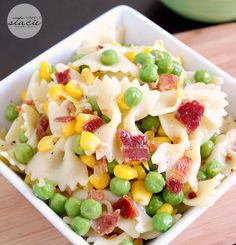 Simple and versatile recipe for Easy Bacon Pea Pasta Salad.