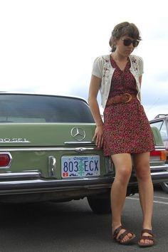 birkenstocks worn with a dress.