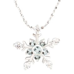 Sterling Silver - xmas gift 925 sterling silver blue diamond accent winter snowflake pendant necklace 18 Image.