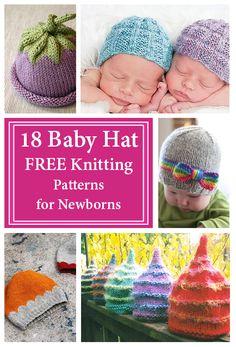 Baby Hat Free Knitting Patterns for Newborns - Crafty Tutorials Baby Hat Knitting Patterns Free, Baby Hat Patterns, Baby Hats Knitting, Free Knitting, Knitted Hats, Simple Knitting, Crochet Beanie, Free Crochet, Free Pattern