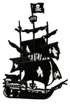 Pirate Ship - Ghost Ship - Embroidered Iron On Applique Patch - 4 H Cool Patches, Iron On Patches, Ghost Movies, Custom Embroidered Patches, Do It Yourself Fashion, Ghost Ship, Skull Logo, Craft Stickers, Iron On Applique