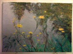 Acrylic Painting : The Pond at Butterfly Park - Original Work by Jeddin A. White via Etsy