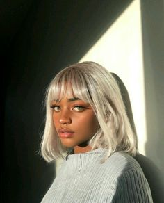 Beautiful black girl with glowing brown skin, green eyes, full lips, long lashes, and gray/silver hair. Pretty People, Beautiful People, Beautiful Eyes, Beautiful Black Women, Beautiful Ladies, Natural Hair Styles, Short Hair Styles, Corte Y Color, Silver Hair