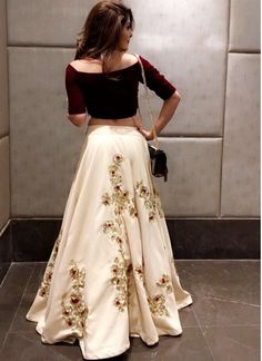 Designer dresses indian - Embroidery work skirt and crop top very stylish dress for any occasion – Designer dresses indian Indian Lehenga, Red Lehenga, Indian Bridal Outfits, Indian Designer Outfits, Designer Dresses, Indian Gowns Dresses, Pakistani Dresses, Pakistani Party Wear, Bollywood Dress