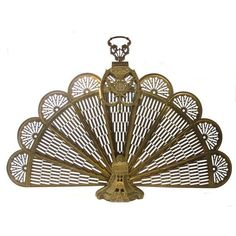 Vintage French Fireplace Screen ($229) ❤ liked on Polyvore featuring home, home decor, fireplace accessories, brass peacock fireplace screen, fire screen, folding fireplace screen, brass fireplace accessories and fireplace screens