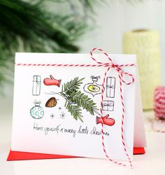 QUICK & EASY Holiday Card Ideas by @damasklove using the Christmas Scribbles stamp set. #EssentialsbyEllen #ChristmasScribbles #ellenhutsonllc