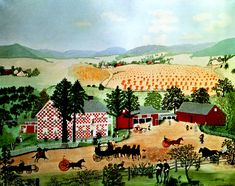 Shenandoah Valley (1861 News of the Battle) - Grandma Moses - WikiArt.org  - Checkered House , 1943