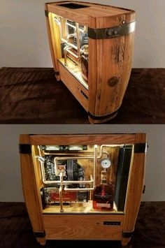 - Drinking water cooled personal computer manufactured from a bourbon barrel with a whiskey reservoir – mint ideas , love , , , Gaming Room Setup, Computer Setup, Pc Setup, Computer Build, Office Setup, Custom Computer Case, Custom Pc, Bourbon Barrel, Pc Cases