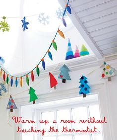 cute christmas decorations for kids room, felt tree, snowflake, and lights garland