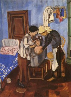 Bathing of a Baby Artist: Marc Chagall Completion Date: c.1916