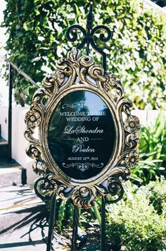 Gold and black wedding welcome sign