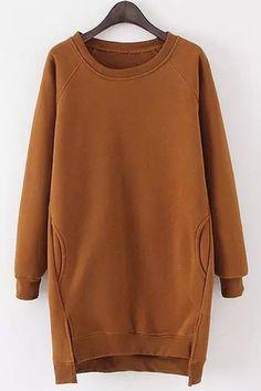 Solid Color Long Sleeves Side Slit Long Sweatshirt