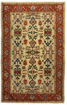6′2″ × 9′9″ Hand Knotted Wool Turkish Oushak Rug