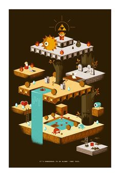 Legend of Zelda game art. Isometric Art, Isometric Design, Game Concept, Concept Art, Art Isométrique, Sf Wallpaper, Nintendo, The Legend Of Zelda, Video Game Art