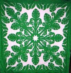 Hawaiian Quilted handmade bedspreads - Monstera with Border Quilt Queen size bedspread