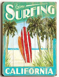 Gone Surfing California Vintage Wood Planked Sign
