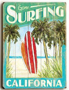 Gone Surfing California Vintage Wood Planked Sign