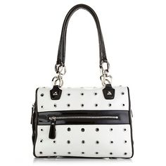Sharif Pebbled and Patent Leather Barrel Satchel