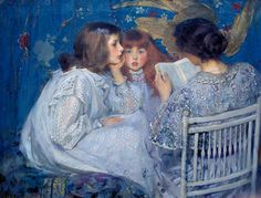 """James Shannon, oil painting, 1895. Kipling's """"The Jungle Book"""" being read by a mother to her two girls."""