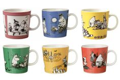 I'd really love to have these old moomin mugs Moomin Mugs, Tove Jansson, Nordic Design, Finland, Dishes, My Favorite Things, Tableware, Kitchen, Beautiful
