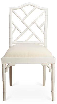 Mae Bamboo Side Chair, White/White Linen