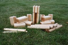 Kubb: a Swedish lawn game. Play it with beer in hand.