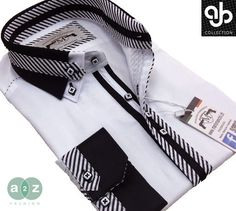New Men's Formal, Smart, White & Black Double Collar Casual Italian Design Slim Fit Shirt, with Contrast Black, & White Striped NEW DESIGN - S - 4XL