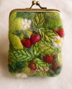 Wet felted strawberry purse.  My entry to Artizanmade's 'Leaves' themed photo contest.  If you like my purse, I'd really appreciate the votes :)