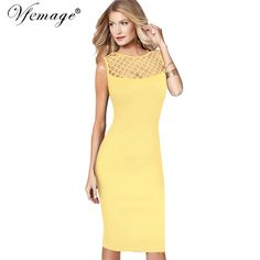 Vfemage Womens Elegant Sexy See Through Mesh Patchwork Slim Casual Wear to Work Office Business Party Fitted Bodycon Dress 6209 //Price: $38 & FREE Shipping //     #outfit #stylish