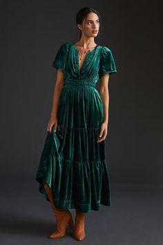 Somerset Velvet Maxi Dress By Anthropologie in Green Size L