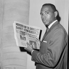 25 Sep 1962, New Orleans, Louisiana, USA --- James Meredith, the first African American student to enroll at the University of Mississippi, holds a newspaper as he attempts to register at the university