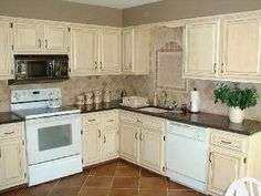 I Like The Antiqued Look. It Goes Well With Our Style In The Adjoining  Living. Refinished Kitchen CabinetsOff White ...