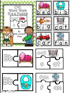 CVC Word Work puzzle cards. This product lets kids have fun while learning initial, middle, and ending sounds. Extra puzzles teach onset and rhimes.
