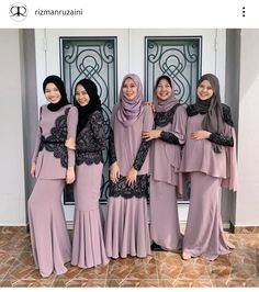 By Rizman Ruzaini Dress Brokat Muslim, Dress Pesta, Muslim Dress, Modest Fashion Hijab, Muslim Fashion, Fashion Dresses, Muslimah Wedding Dress, Wedding Abaya, Kebaya Modern Hijab