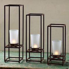 Framework pillar trio Can't wait to get mine. mine will be here soon Candle Cups, Tealight Candle Holders, Tea Light Candles, Pillar Candles, Tea Lights, Wall Lights, Christmas Fireplace, Tea Light Holder, Candle Sconces
