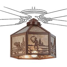13 Inch W Fly Fisherman Fan Light - Custom Made. 13 Inch W Fly Fisherman Fan LightA Fly Fisherman casts his line on this wildlife sportinspired flush mount fixture. The rustic fixture hasSilver mica framed in Rust, and is handcrafted in the USA by Meyda artisans.Fan not included. Theme:  RUSTIC LODGE ANIMALS RECREATION Product Family:  Fly Fisherman Product Type:  CEILING FIXTURE Product Application:  FANLIGHT SHADES Color:  RUST/SILVER MICA Bulb Type: MED Bulb Quantity:  1 Bulb Wattage:...