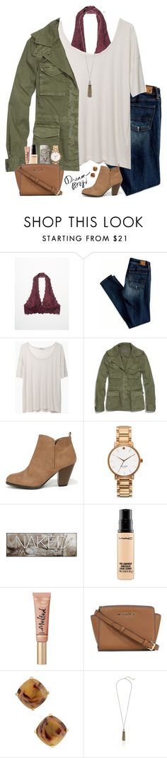 """cute winter outfit"" by lilypackard ❤ liked on Polyvore featuring Free People, American Eagle Outfitters, T By Alexander Wang, Madewell, Qupid, Kate Spade, Urban Decay, MAC Cosmetics, Michael Kors and Cara"