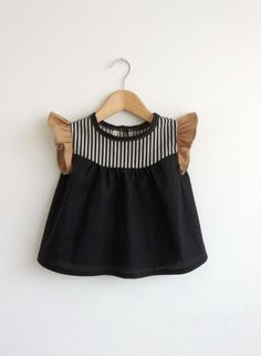 girls' cotton blouse with striped detail by swallowsreturn on Etsy Emphasis on the brown tan sleeves ruffled Fashion Kids, Little Girl Fashion, Fashion Black, Cotton Blouses, Kid Styles, My Baby Girl, Baby Baby, Baby Girls, Baby Sewing