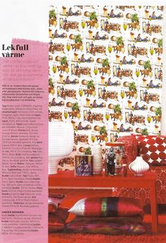 An Urban Tapestry Real Red slipcover from Bemz on a Klippan sofa from IKEA featured in Swedish Allt i hemmet nr12 2012.