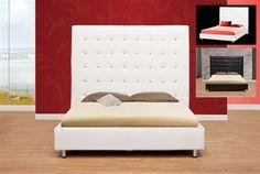 Capri White Leatherette Platform Bed
