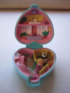Polly Pocket Bluebird Panda Blue Heart Compact 2 Bears & Polly Doll 1993 Swinton #DollswithClothingAccessories