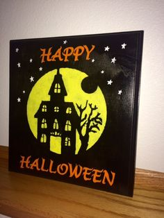 Happy Halloween Haunted House Silhouette Sign by StormyNightDesigns on Etsy