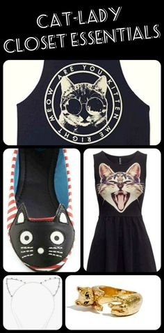 Cat-Lady Closet Essentials, more here: http://www.peta.org/living/fashion/cat-lady-closet-essentials.aspx #catlady #catfashion #catclothes #vegan #crueltyfreefashion